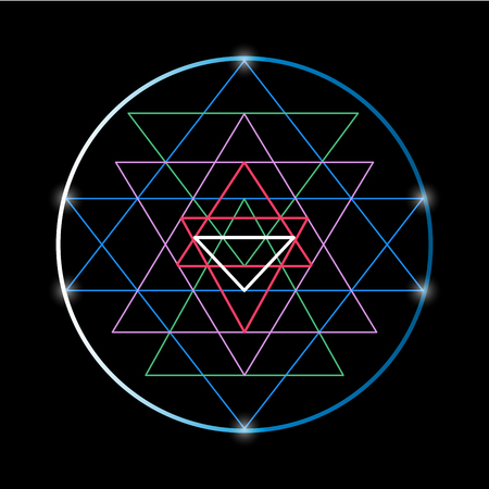 shri: Sacred geometry and alchemy symbol Sri Yantra, formed by nine interlocking triangles that surround and radiate out from the central point. Colorful vector illustration on a black background Illustration