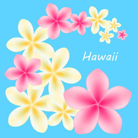 for example: Background with frangipani, plumeria flowers on a blue background. Vector illustration. Text Hawaii for example Illustration