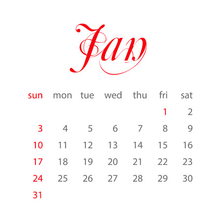 week: Calendar 2016. Vector Flat Design Template. January. Week Starts Sunday Illustration