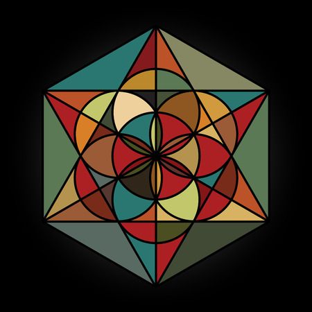 basics: Vector colorful design of Seed of Life Mandala. Basics of Sacred geometry
