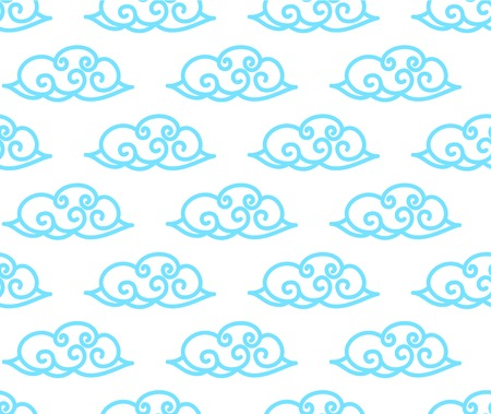 Chinese clouds seamless background. Asian style cute clouds background Ilustração