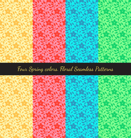 spring water: Set of floral seamless patterns in traditional east asian style, four spring colors.
