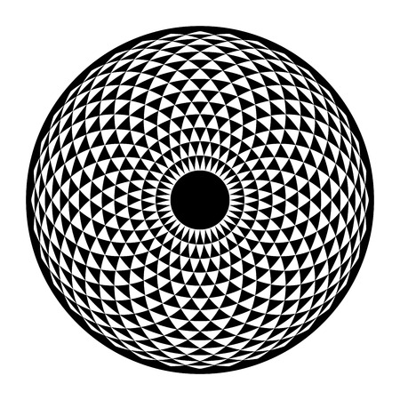 Torus Yantra, Hypnotic Eye sacred geometry basic element. Vector illustration for coloring book. Torus mandala, spiritual drawings.