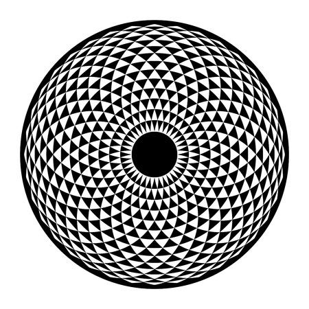 Torus Yantra, la geometría sagrada del ojo hipnótico elemento básico. Ilustración del vector para dar color. mandala toro, dibujos espirituales. Ilustración de vector