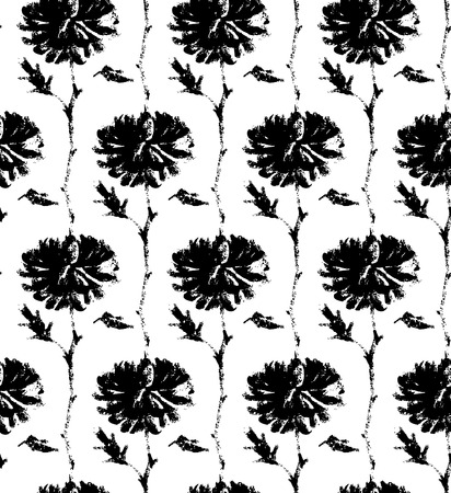 calendula: Vector seamless pattern with ink hand drawn flowers illustration isolated on white. Chrysanthemum flowers in traditional vintage  chinese, japanese, east asian style prints.