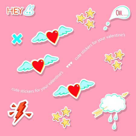 manga style: Valentines day love theme cute badges, stickers, stamps. Hearts, thunder, arrow, cloud, stars, speech bubble. Comic, manga style