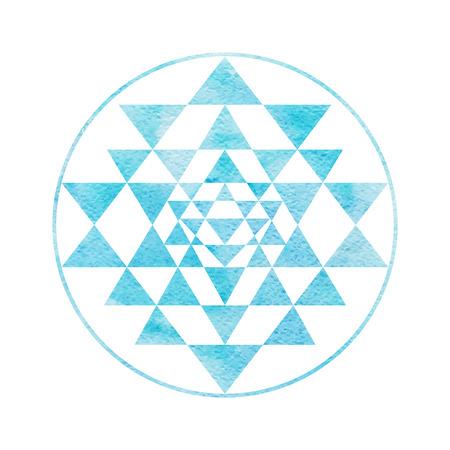 La géométrie sacrée et symbole de l'alchimie Sri Yantra, formé par neuf triangles de verrouillage qui entourent et rayonnent à partir du point central. Bleu Aquarelle texture utilisée. peint à la main effet. Banque d'images - 51458243