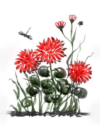 sumi e: Red chrysanthemum. Flower composition in chinese, japanese, sumi-e style. Ink and watercolor painting on white background.