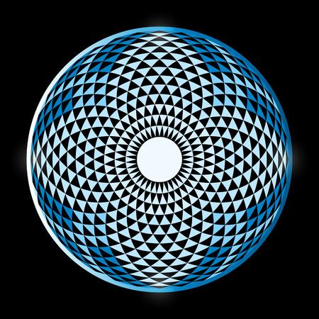 Torus Yantra, Hypnotic Eye sacred geometry basic element. Torus mandala, spiritual drawings. Bright mandala on a black background