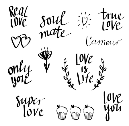 love icon: Set of  words on love theme. Love doodle, lettering.text for your design isolated on white background. Used for greeting cards, posters and print invitations. Illustration