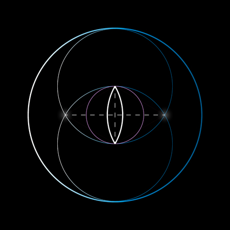 Vesica piscis. Sacred geometry element. The name literally means the bladder of a fish in Latin.