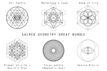 icosahedron: Sacred Geometry Great Bundle. Black geometry on white background with titles. Illustration