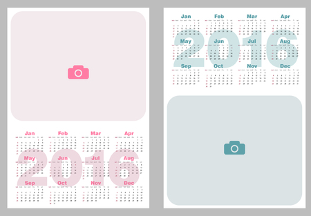 basic candy: Set of two calendars 2016. Abstract calendars for 2016. illustration. Calendars in pastel colors, with a place for photo. Calendar templates for Kids.