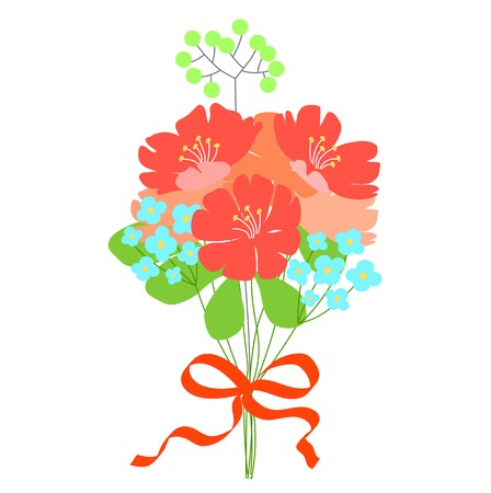 cartoon bouquet: gift, flower bouquet. Wedding invitation or greeting card. Cute doodle style. Fantasy bouquet. Red, orange, turquoise flowers. Red ribbon for decoration.