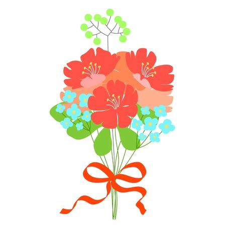 mazzo di fiori: regalo, bouquet di fiori. Invito a nozze o biglietto di auguri. stile Doodle carino. Fantasy bouquet. Rosso, arancio, fiori turchesi. Nastro rosso per la decorazione. Vettoriali
