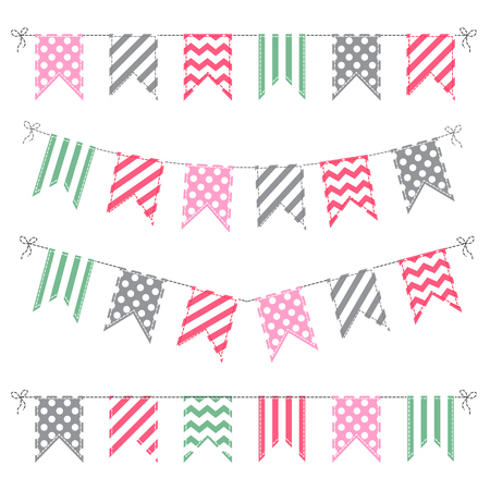 fair: Set of multicolored flat buntings garlands with stripes and dots isolated on white background