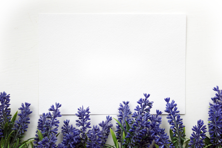 artifical: Artifical lavender flowers and blank paper Mockup. Vintage style mockup for your photos and arts