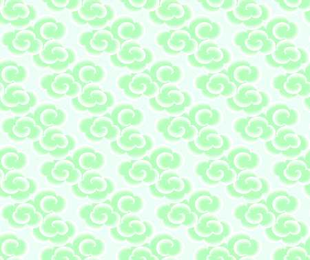 jade: Chinese clouds seamless background. East asian style cute clouds background. Jade chinese clouds on light background