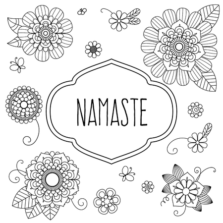 namaste: Indian welcome greeting - Namaste decorated with floral elements. Translation is Hello. Illustration