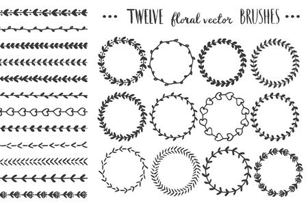 Set of hand drawn round floral wreaths.
