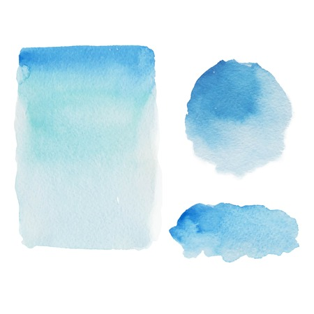 blue  backgrounds: Abstract blue watercolor stains, backgrounds, traced image Set Illustration