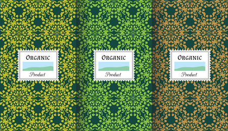 color balance: packaging templates for organic products - seamless patterns for background and stickers with logos and lettering. Ethnic floral design elements, natural color balance. Illustration