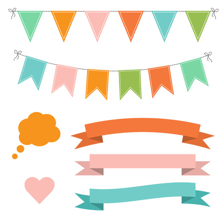 Set of multicolored flat buntings garlands, flags, ribbons, heart and speech bubble. Celebration decor
