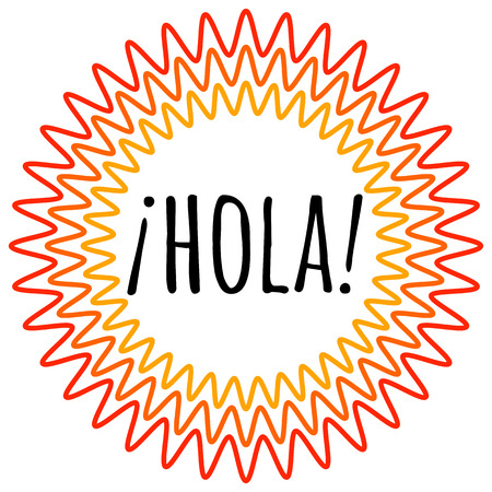 Hola lettering. Translation from spanish is Hello, Hi. Good vibes. Positive emotions. design for good mood.