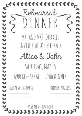 빈티지 결혼식 안내장. 리허설 저녁 초대장 템플릿입니다. 손으로 그린 그래픽. 일러스트
