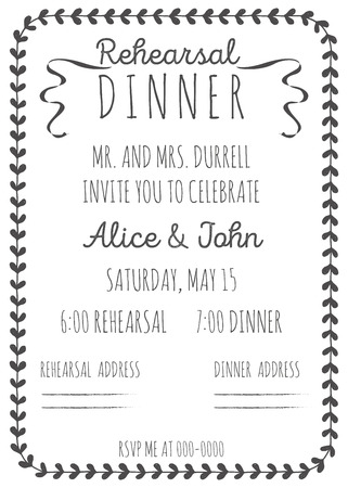 rehearsal: Vintage Wedding Invitation. Rehearsal dinner invitation template. Hand-drawn graphics.