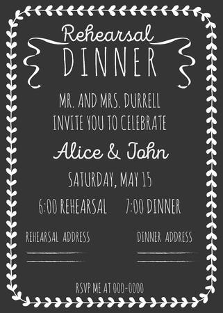 ビンテージ結婚式の招待状。リハーサル ディナーの招待状のテンプレートです。