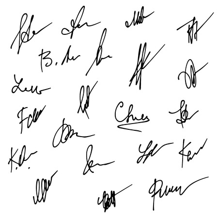 autograph: Signatures set. Abstract Business autograph illustration. Big set of signatures for infographics