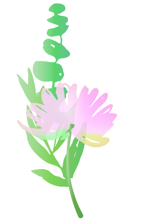 greens: watercolor flower and greens. Florist composition, ikebana. Chrysanthemum, green leaves and branches Illustration