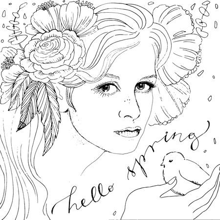 Cara de la mujer ilustración. Libro de colorante para adultos. Hola letras primavera.