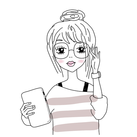 illustration of smart girl in nerdy hipster glasses, holding a tablet. teacher, writer or student.