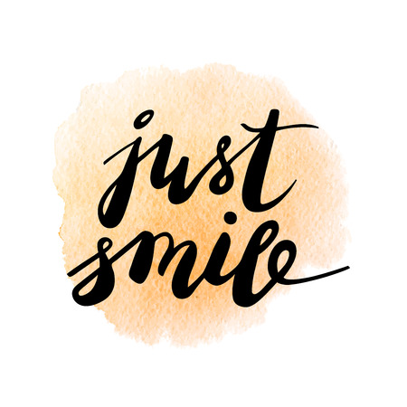 vibes: Just smile. Inspirational quote on pink watercolor background. lettering. Good vibes. Illustration