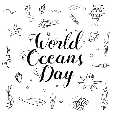 environmental awareness: World Ocean Day lettering and doodle illustration, poster. Fun doodle ocean creatures.