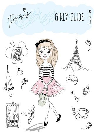 travel guide: Girly travel guide of Paris. Vector illustration of a Girl in Paris
