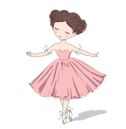 pink girl: Cute ballerina girl. Vector illustration of a romantic beautiful girl.