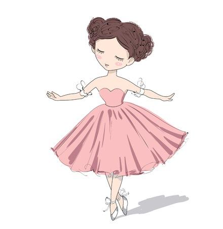 angeles bebe: La muchacha linda bailarina. Ilustración vectorial de una hermosa chica romántica.