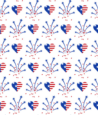 Fireworks and heart in American national flag colors. Seamless pattern for US Independence Day 4th of July. Vector illustration on white background Ilustração