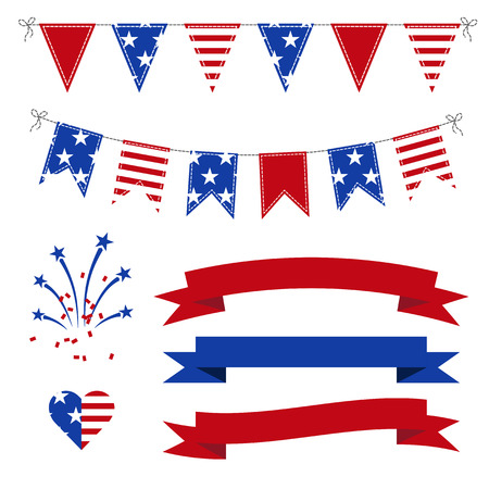 july 4: Vector Set of Patriotic Bunting, flags, ribbons, fireworks for Independence Day, on July 4. Illustration