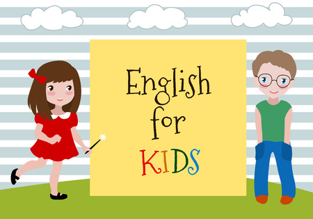 learning english: English for Kids. Vector Illustration of the two kids learning english. Language School for children. Studying foreign languages concept.