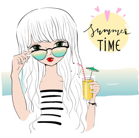 Schöne romantische Mädchen am Strand. Mode Girly Vektor für Postkarten, T-Shirts. Sea-Themen-Abbildungen. Character Design eines ziemlich süßes Mädchen. Urlaub auf dem Meer.