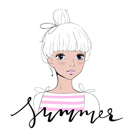 suntanned: Beautiful romantic sun-tanned girl in summer. Fashion girly vector for Postcards, T-shirts. Character design of a pretty sweet girl.