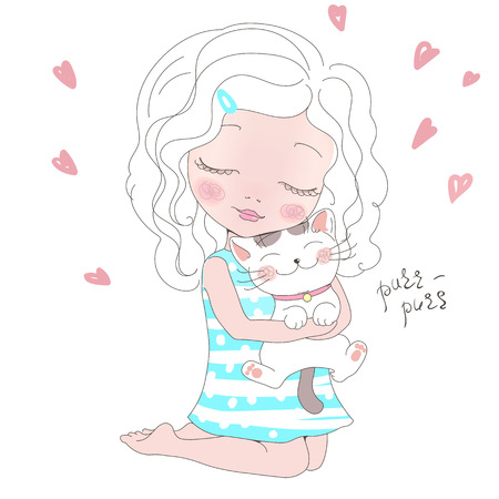 angel cat: Vector Illustration of a cute girl with a Cat. Girl with her Kitty. Animal love.