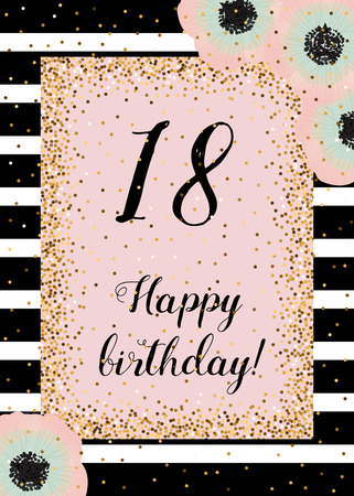 dusty: Cute happy birthday card with golden decoration, black stripes and anemones. Dusty rose, mint and gold. Template for all categories of invitation, cards.