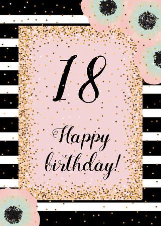 Mignon carte d'anniversaire heureux avec décoration d'or, rayures noires et anémones. Dusty rose, la menthe et l'or. Modèle pour toutes les catégories d'invitation, cartes.
