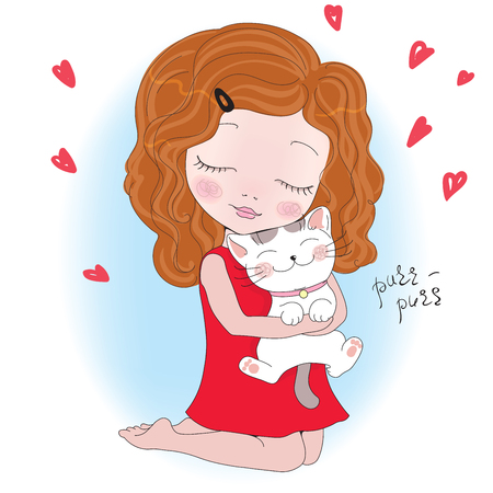 red dress: Vector Illustration of a cute little girl with Cat