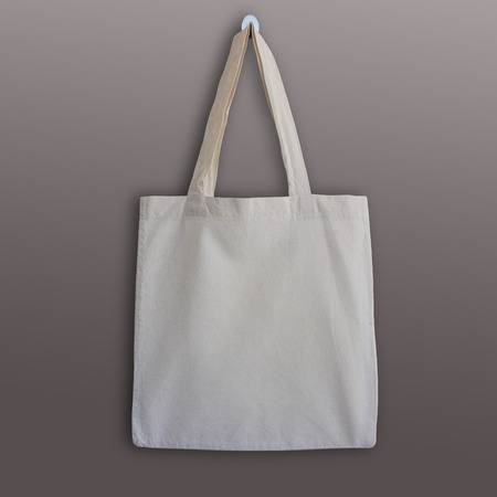 Blank cotton tote bag, design mockup. Handmade shopping bags. Stock Photo